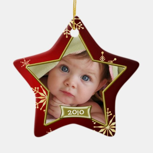 Baby S First Christmas Photo Frame Ceramic Ornament Zazzle