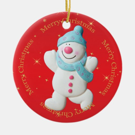 Babys First Christmas Snowman Tree Ornament Custom