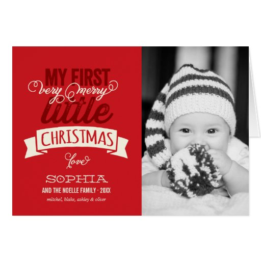 Baby's First Merry Little Christmas Photo Greeting Card ...