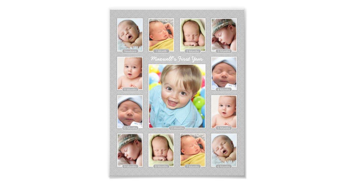 Baby S First Year Photo Keepsake Collage Print Zazzle