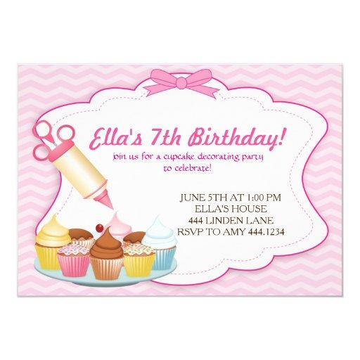 Baking Cupcake Decorating Birthday Invitations | Zazzle