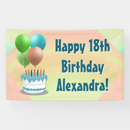 Balloons And Cake Custom Birthday Party Banner