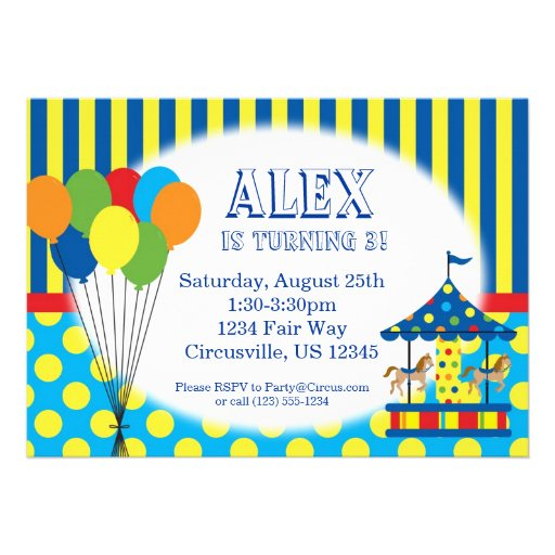 Balloons Carousel Carnival Circus Birthday Party Personalized Invitation