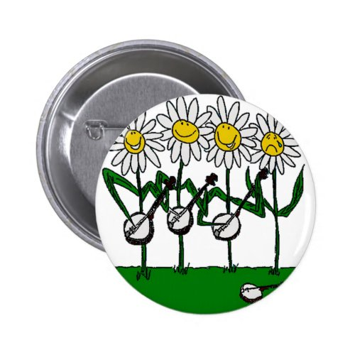 Banjo and Daisy Flowers Round Button