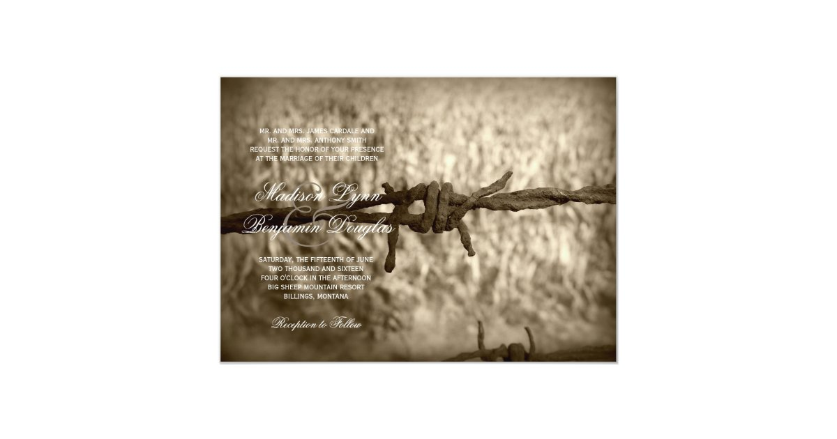 Western Wedding Invites: Barbed Wire Country Western Wedding Invitations