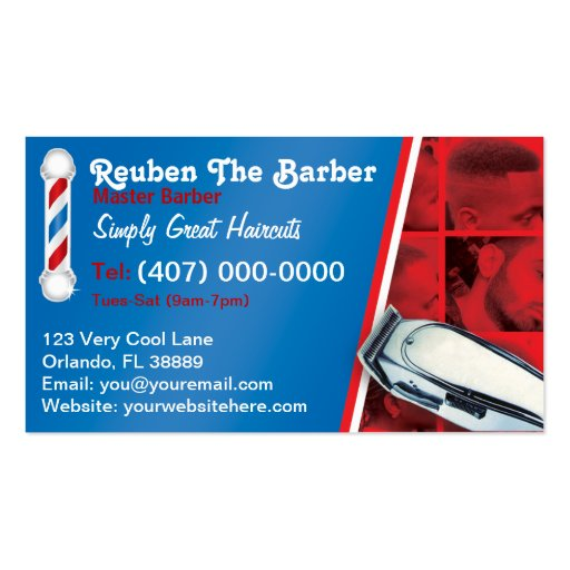 Barber Business Card Pole And Clippers