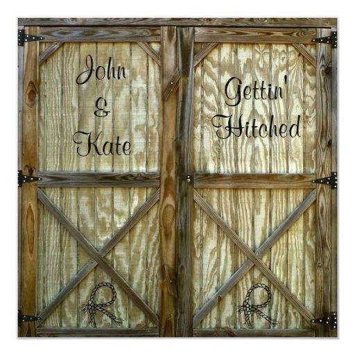 Rustic Door Wedding Ideas: Barn Door Cowboy Wedding Invitation