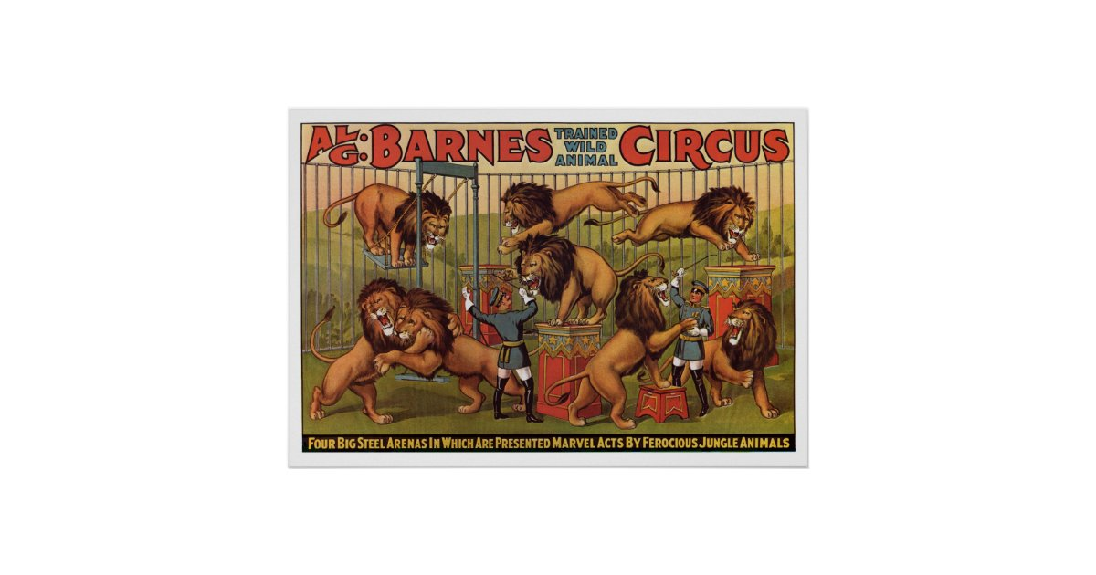Barnes Circus Advertising Poster From the 1920's | Zazzle