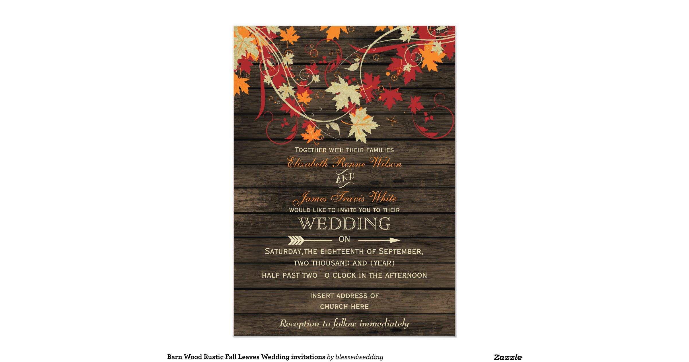 Rustic Fall Wedding Invitations: Barnwood, Rustic Fall Leaves Wedding Invitations