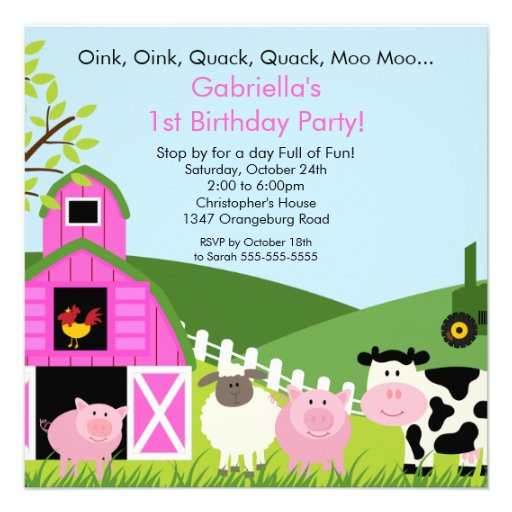 Pink Zebra Print Girls 1st Birthday Invitation: Barnyard Animal Fun Birthday Party Pink Girls 5.25x5.25
