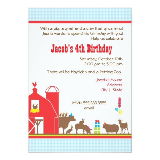Barnyard Birthday Invitation | Zazzle