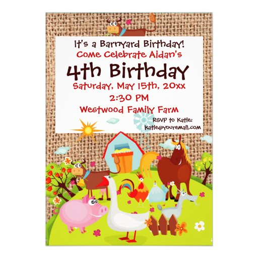 Personalized Petting Zoo Birthday Party Invitations