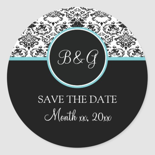 baroque elegance save the date sticker aqua classic round sticker zazzle. Black Bedroom Furniture Sets. Home Design Ideas