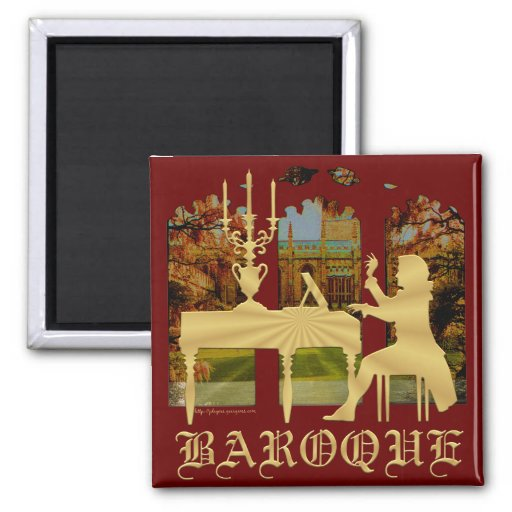 Baroque Silhouetted Harpsichord Player 2-inch Square Magnet