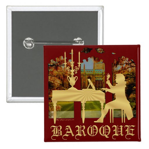 Baroque Silhouetted Harpsichord Player 2-inch Square Button