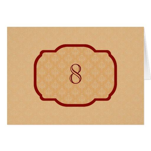 Baroque Orange Damask Table Tent Template Cards Zazzle NBV9Ou3K