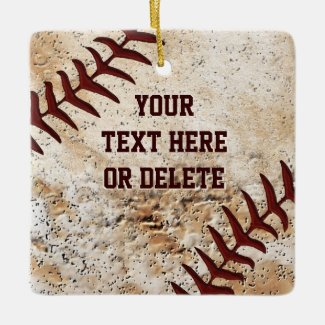 Baseball Ornaments Your Text and Photo on Back