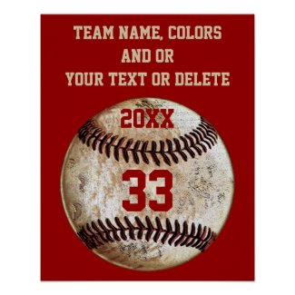 Baseball Posters, Team Colors, Team, Player's Name