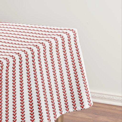 Baseball Stitches Vertical Stripes Pattern Art Tablecloth