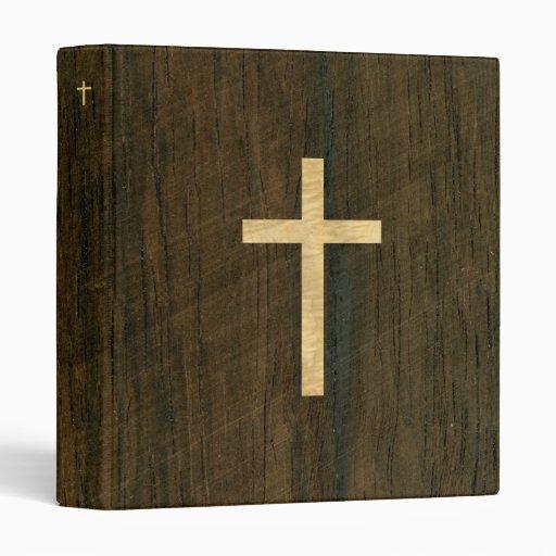 Basic Christian Cross Wooden Veneer Maple Rosewood 3 Ring