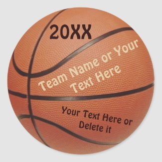 Basketball Ball Stickers, Type YEAR, TEAM, Message