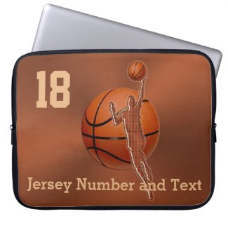 Basketball Cases for Laptop Your NAME and NUMBER Laptop Computer Sleeves