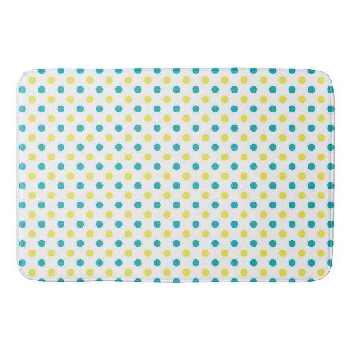 Bath Mat/Yellow & Teal Polka Dots Bath Mats