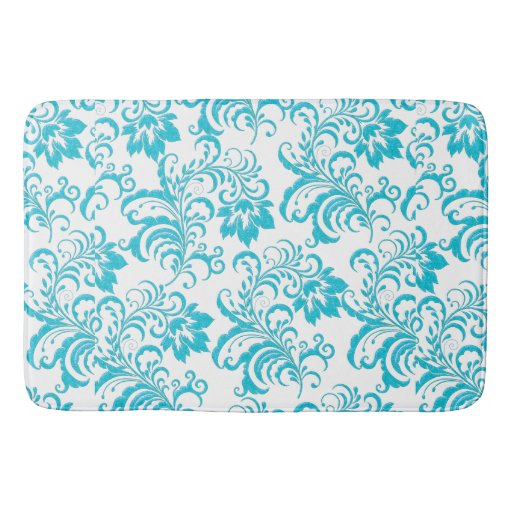 Woolrich Blue And White Floral Rug: Bath Rug Damask Flowers Blue Teal White Floral