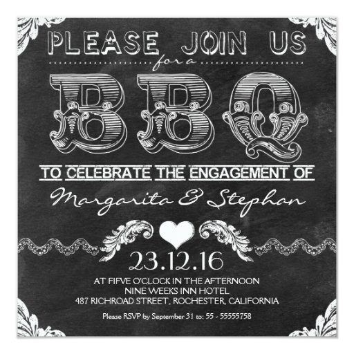 Chalkboard Engagement Party Invitation Printable By: BBQ Engagement Party Black Chalkboard Invitations