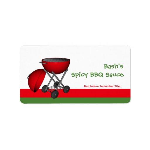 Bbq sauce jar label custom address label zazzle for Bbq sauce label template