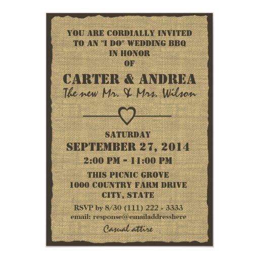 Bbq Wedding Reception Ideas: BBQ Wedding Reception Card