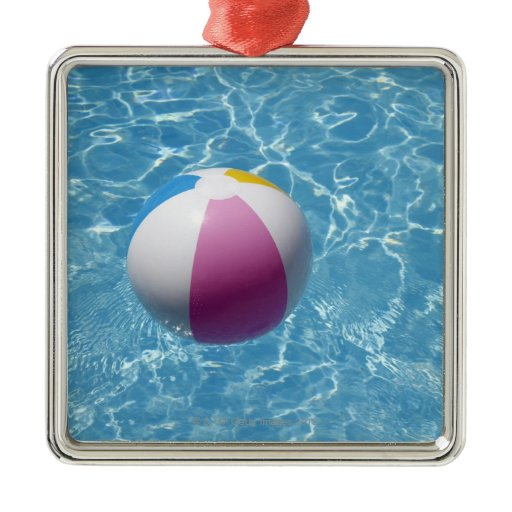 Beach ball in swimming pool square metal christmas ...