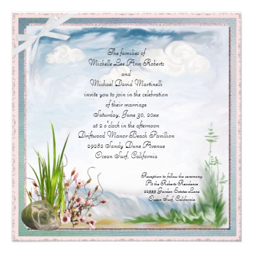"Gold Coast Wedding Invitations: Beach Dune Romance Square Wedding Invitation 5.25"" Square"