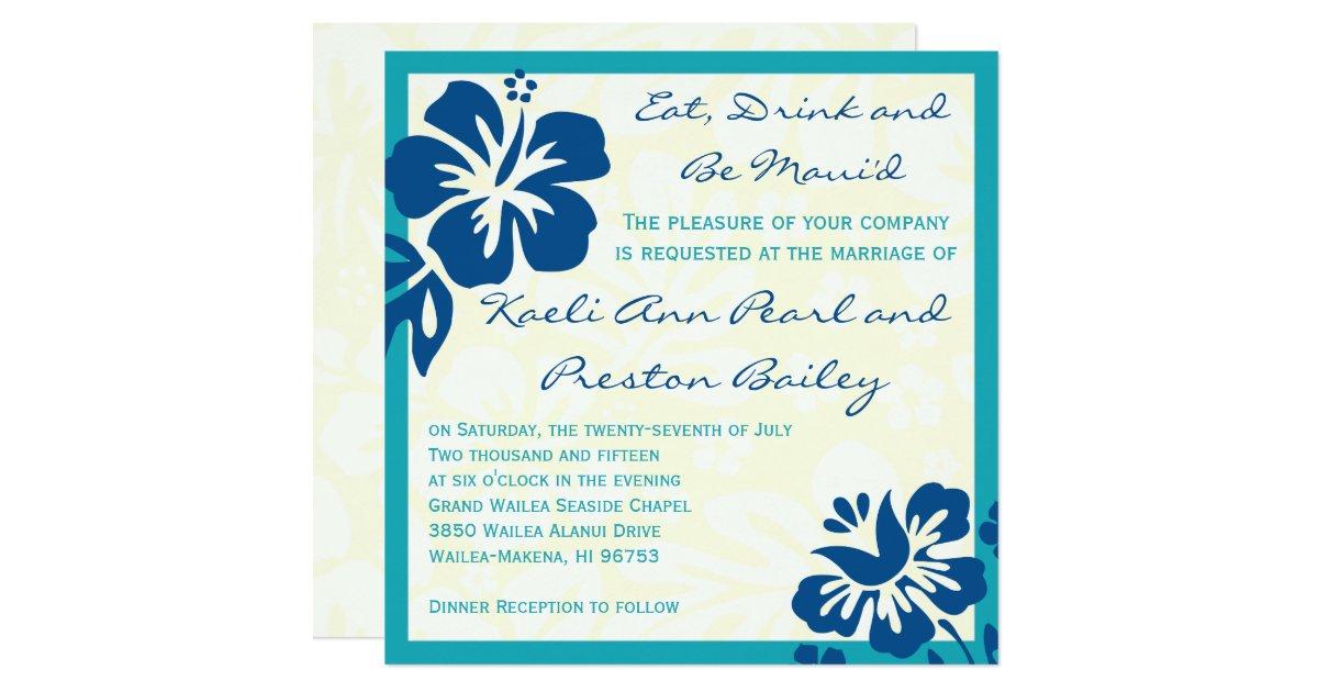 Beach Flowers Shades of Blue Wedding Invitation | Zazzle