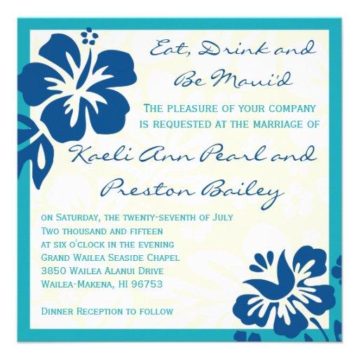 Beach Flowers Shades of Blue Wedding Invitation 5.25 ...