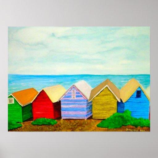Inspiration Hut Grid Paper: Beach Huts Poster