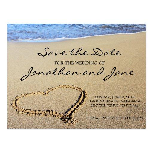 Beach ocean wedding save the date postcard zazzle for Free online wedding save the date templates