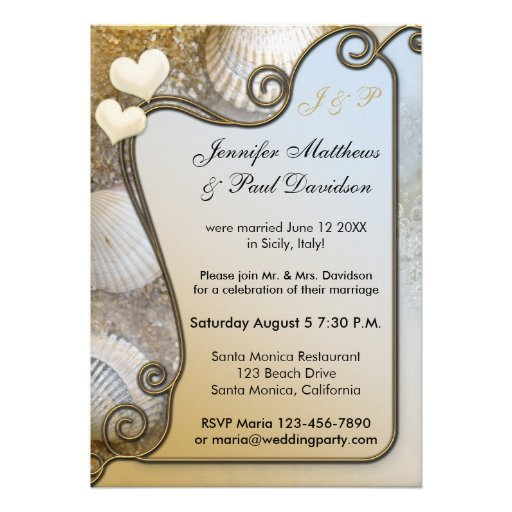 "Invitation For Reception After The Wedding: Beach Post Wedding Party Invitation 5"" X 7"" Invitation"