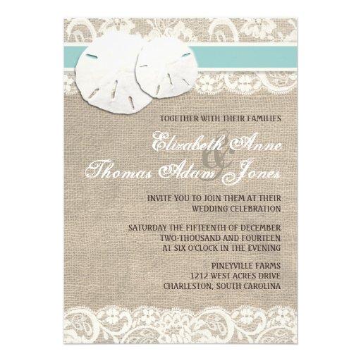 "Burlap Invitations Wedding: Beach Rustic Burlap Lace Wedding Invitation 5"" X 7"