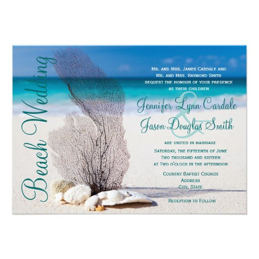"Wedding Invitations For Destination Wedding: Beach Seashells Destination Wedding Invitations 4.5"" X 6"