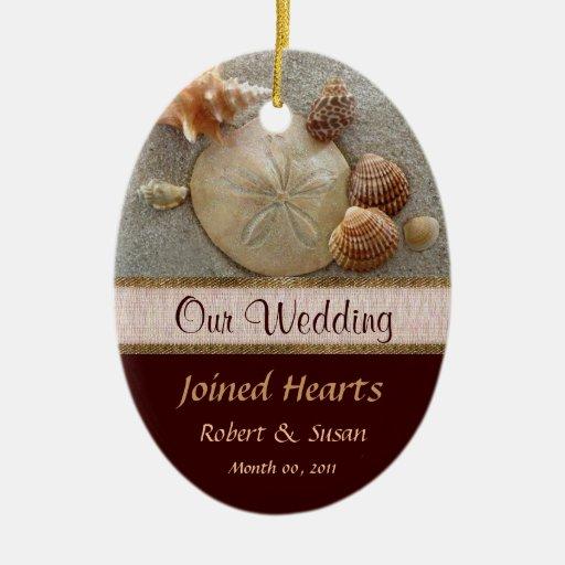Porcelain Wedding Favors: Beach Shells Wedding Favor Ceramic Ornament