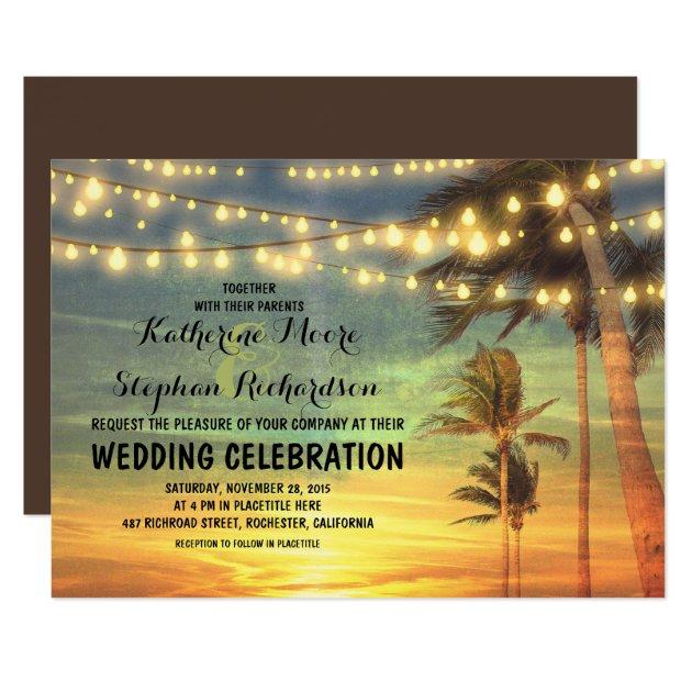 beach sunset and string lights wedding invitation rfb7c9becdd384aec89ba3e54849f1a5b 6gduf 630 - beach wedding save the date