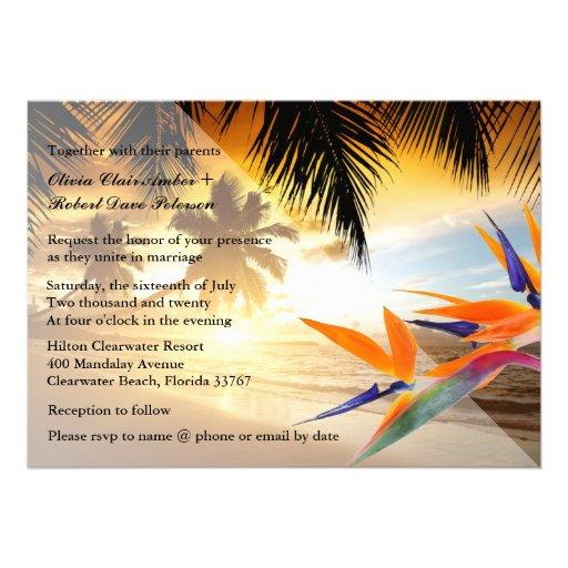 Beach Sunset Palm Trees Bird-of-Paradise Wedding 5x7 Paper