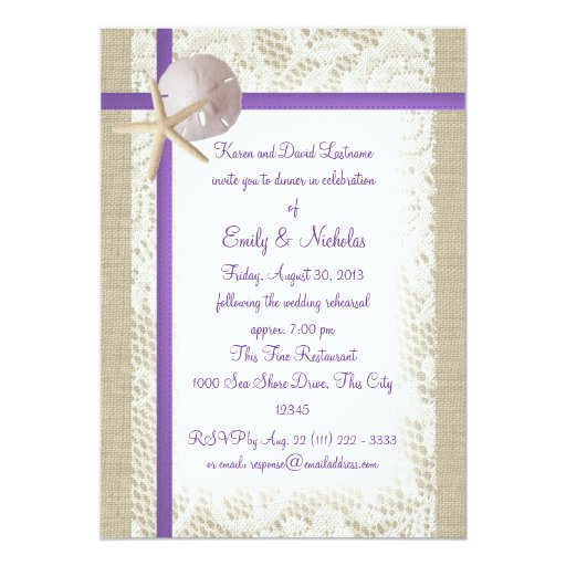 Beach Theme Card Stock: Beach Theme Rehearsal Dinner Purple 5x7 Paper Invitation