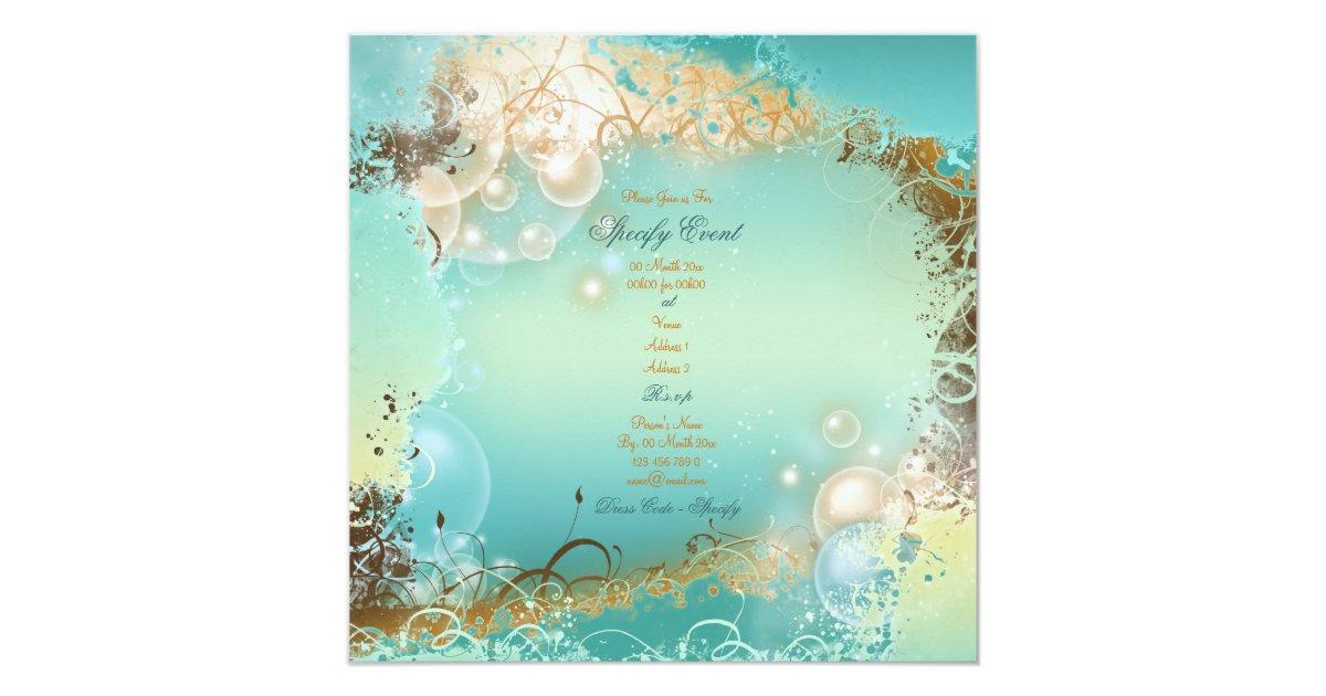Beach Theme Wedding Invitation: Beach Theme Wedding - Elegant Party Invitation