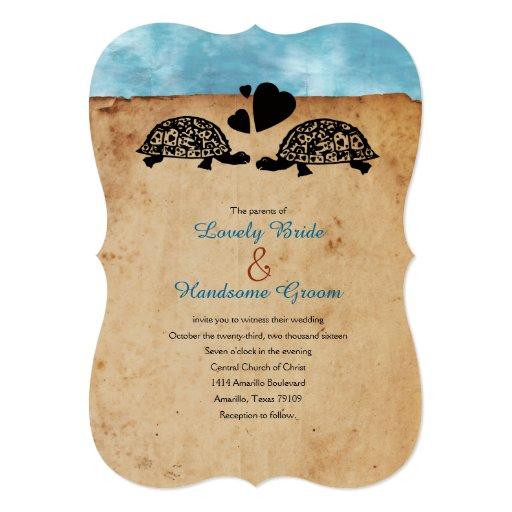 Sea Turtle Wedding Invitations: Beach Turtle Whimsical Wedding Invitation