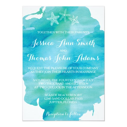 Beach Watercolor Starfish Ocean Wedding Invitation Zazzle