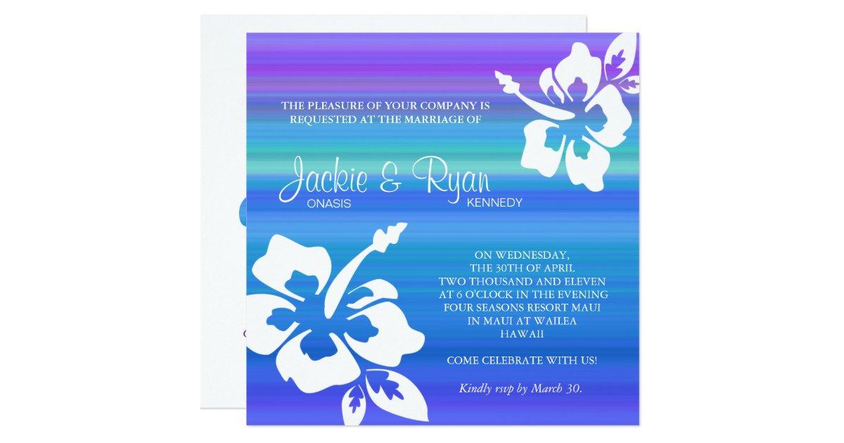 Purple And Blue Wedding Invitations: Beach Wedding Invitation Hibiscus Blue Purple