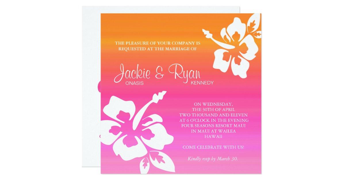 Fuschia And Orange Wedding Invitations: Beach Wedding Invitation Hibiscus Pink Orange