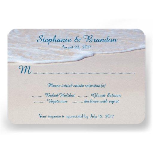 "Beach Wedding Reply Cards With Menu Choice 3.5"" X 5"